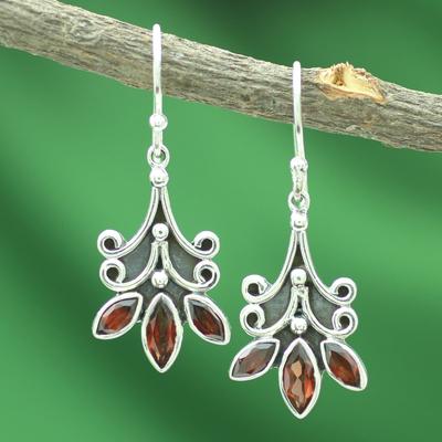 Garnet flower earrings, 'Kerala Carnation' - Fair Trade Floral Sterling Silver and Garnet Earrings