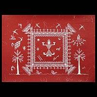 Warli painting, 'Place of Worship' - Warli painting