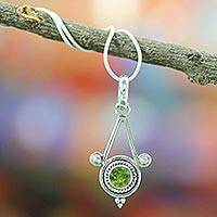 Peridot pendant necklace, 'Chennai Promise' - Sterling Silver and Peridot Necklace Modern Indian jewellery