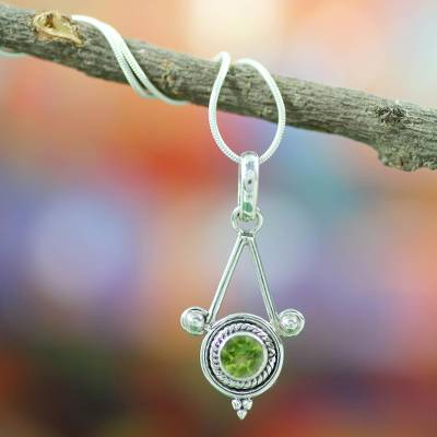 Peridot pendant necklace, 'Chennai Promise' - Sterling Silver and Peridot Necklace Modern Indian Jewelry