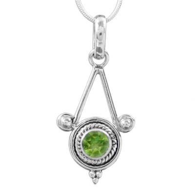 Sterling Silver and Peridot Necklace Modern Indian Jewelry