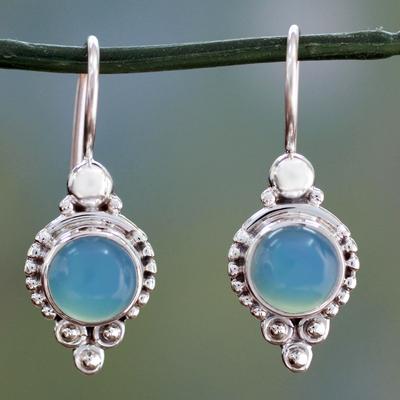 Chalcedony dangle earrings, 'Ocean Sky' - Classic India jewellery Silver Earrings with Chalcedony