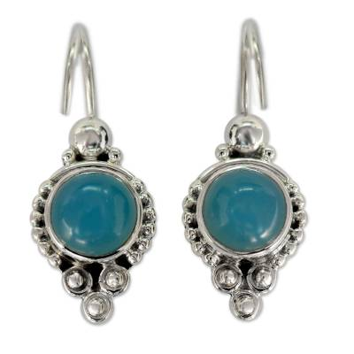 Classic India Jewelry Silver Earrings with Chalcedony
