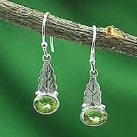 Peridot dangle earrings, 'Green Leaves'