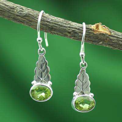 Peridot dangle earrings, 'Green Leaves' - Peridot and Sterling Silver Artisan Crafted Earrings