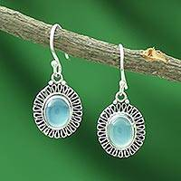 Chalcedony dangle earrings, 'Blue Fortune Sun'
