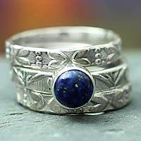 Lapis lazuli stacking rings, 'Love Foretold' (set of 3) - Floral Jewelry Sterling Silver Stacking Lapis Lazuli Ring