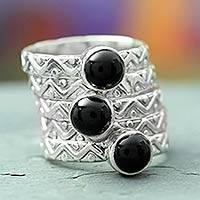 Onyx stacking rings, 'Midnight Fantasy' (set of 5)