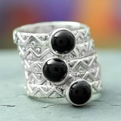 Onyx stacking rings, 'Midnight Fantasy' (set of 5) - Onyx stacking rings (Set of 5)