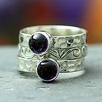 Amethyst stacking rings, 'Mystical Muse' (set of 3) - Amethyst with Sterling Silver 3 Stacking Rings from India