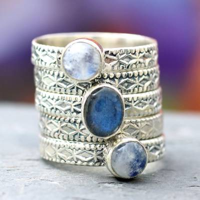 Rainbow moonstone and labradorite stacking ring, 'Love's Imagination' (set of 5) - Rainbow Moonstone and Labradorite Stacking Rings (Set of 5)