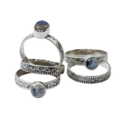 Rainbow moonstone and labradorite stacking rings, 'Love's Imagination' (set of 5) - Rainbow Moonstone and Labradorite Stacking Rings (Set of 5)
