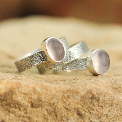 Rose quartz stacking rings, 'Flame of Love' (set of 3) - Rose quartz stacking rings (Set of 3)