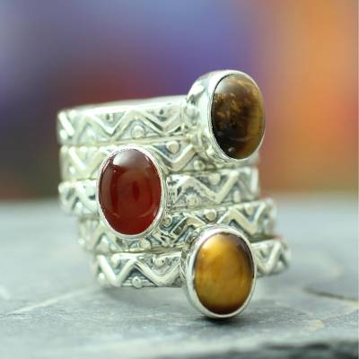 Tiger's eye and carnelian stacking rings, 'Goddess of Fire' (set of 5) - Sterling Silver Carnelian and Tigers Eye Stacking Rings