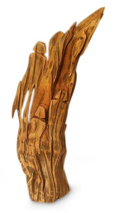 Original hand carved sculpture of found wood from india