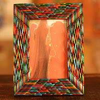 Glass photo frame, 'Bangalore Bangles' (4x6) - Handcrafted Wood Photo Frame (4x6)