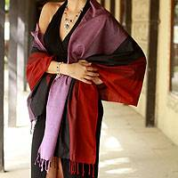 Silk shawl, 'Ruby Amethyst'