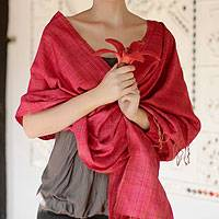 Silk shawl, 'Holiday Mood' - Silk Shawl Handmade Wrap from India
