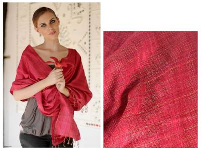 Silk shawl, 'Holiday Mood' - Silk Shawl Handmade Wrap from India