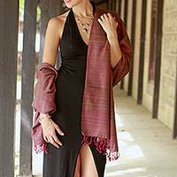 Silk shawl, 'Holiday Plum'