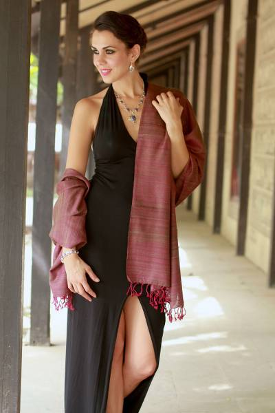 Silk shawl, 'Holiday Plum' - Silk shawl