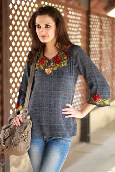 Silk tunic, 'Scarlet Lotus' - Silk Tunic Grey and Embroidered Apparel India