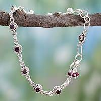 Garnet anklet, 'Scarlet Sun Blossoms' - Indian Ankle jewellery with Garnet and Sterling Silver
