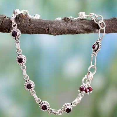 Garnet anklet, 'Scarlet Sun Blossoms' - Indian Ankle Jewelry with Garnet and Sterling Silver