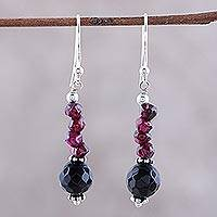 Garnet and onyx dangle earrings, 'Night of Passion' - Garnet and onyx dangle earrings