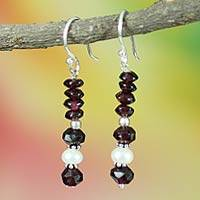 Pearl and garnet dangle earrings, 'Love in the Morning' - Pearl and garnet dangle earrings