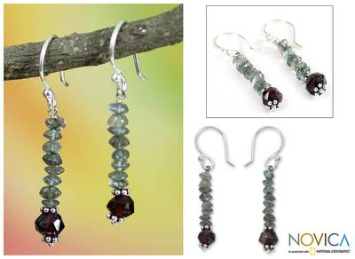 Labradorite and garnet dangle earrings, 'Misty Mystery' - Labradorite and garnet dangle earrings