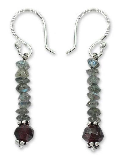 Labradorite and garnet dangle earrings