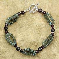 Labradorite and garnet beaded bracelet, 'Misty Mystery'