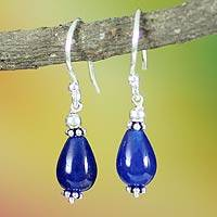 Sterling silver dangle earrings, 'Blue Dewdrop'
