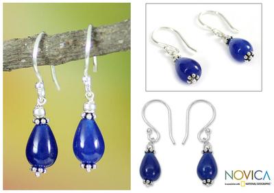 Sterling silver dangle earrings, 'Blue Dewdrop' - Sterling silver dangle earrings