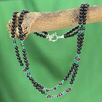 Garnet and onyx beaded necklace, 'Colors of India'