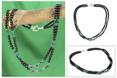 Garnet and onyx beaded necklace, 'Colors of India' - Garnet and onyx beaded necklace
