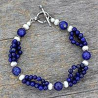 Lapis lazuli and pearl beaded bracelet, 'Gulmohar Lady' - Lapis lazuli and pearl beaded bracelet