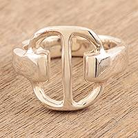 Sterling silver band ring, 'Power' - Sterling silver band ring