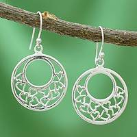 Sterling silver heart earrings, 'Joyous Love' - Sterling silver heart earrings