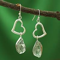 Prasiolite heart earrings, 'Love Stories' - Prasiolite heart earrings