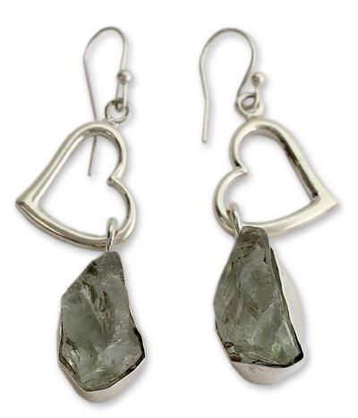Prasiolite heart earrings