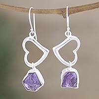 Amethyst heart earrings, 'Love Is Wise' - Amethyst and Silver Heart Earrings