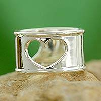 Sterling silver heart ring, 'Threefold Love' - Handcrafted Indian Heart Jewelry Sterling Silver Band Ring