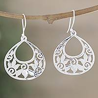 Sterling silver floral earrings, 'Moonlit Lotus' - Floral Jewelry from India Handmade Silver Earrings