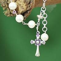 Cultured pearl charm bracelet, 'Divine Hope' - Cultured pearl charm bracelet
