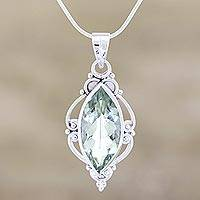 Prasiolite pendant necklace, 'Clarity' - Prasiolite pendant necklace
