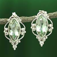 Prasiolite button earrings, 'Clarity' - Sterling Silver and Gemstone Earrings from India
