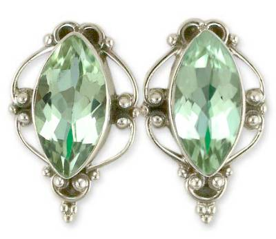 Prasiolite button earrings, 'Clarity' - Prasiolite button earrings