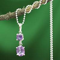 Amethyst pendant necklace, 'Love Duet' - Amethyst pendant necklace